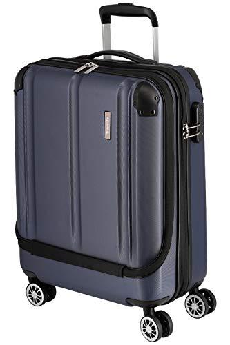 Travelite 4-Rad Handgepäck Koffer mit Vortasche erfüllt IATA Bordgepäckmaß, Gepäck Serie CITY: Robuster Hartschalen Trolley mit kratzfester Oberfläche, 073046-20, 55 cm, 40 Liter, marine (blau)