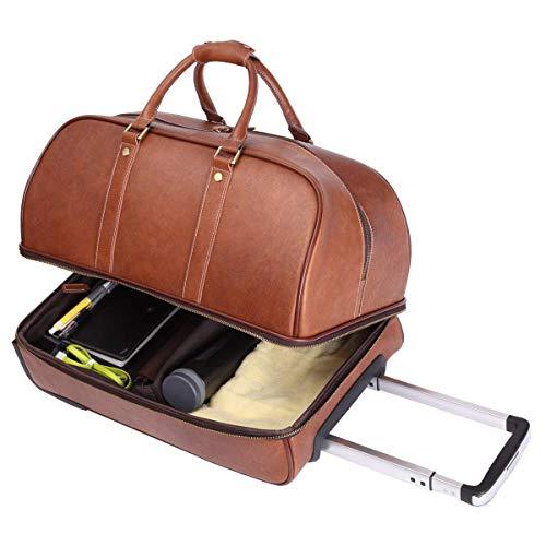 Leathario Reisetasche aus Rindsleder - Weekender XL - Koffer mit Rollen Handgepäck Trolly