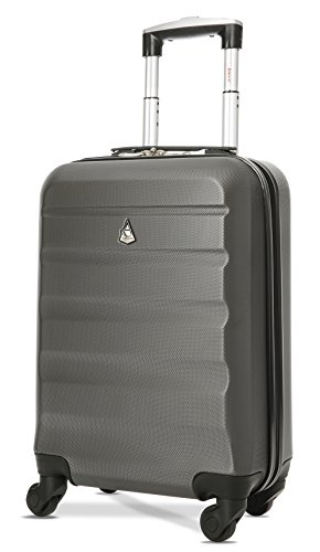 Aerolite Leichter ABS Hartschale 4 Rollen Handgepäck Trolley Koffer Bordgepäck Gepäck für Ryanair, easyJet, Lufthansa, und viele mehr, Charcoal