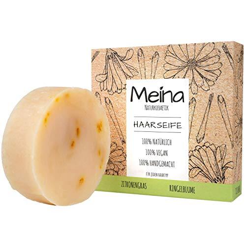 Meina Naturkosmetik - Bio Haarseife mit Zitronengras & Ringelblume, Vegan, Nachhaltig, Handgemacht, Plastikfrei, Ohne Palmöl, Wie ein festes Shampoo - 80g