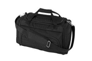 Das Bild zeigt eine schwarze Reisetasche auf einem weissen Hintergrund
