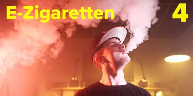 Bild zeigt einen Jugendlichen, der eine E-Zigarette raucht