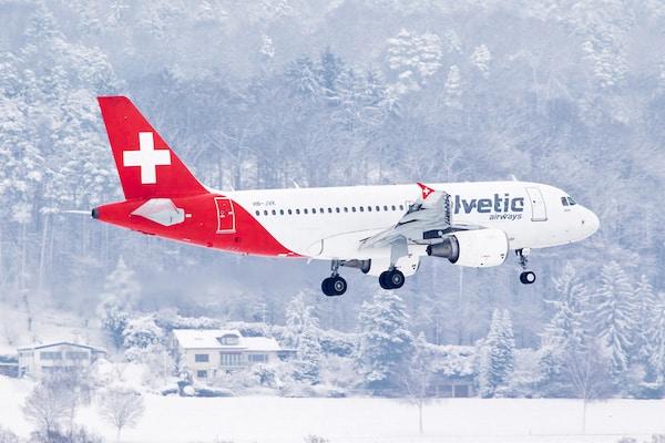 Ein Airbus A319 aus der Flugzeugflotte von Helvetic Airways