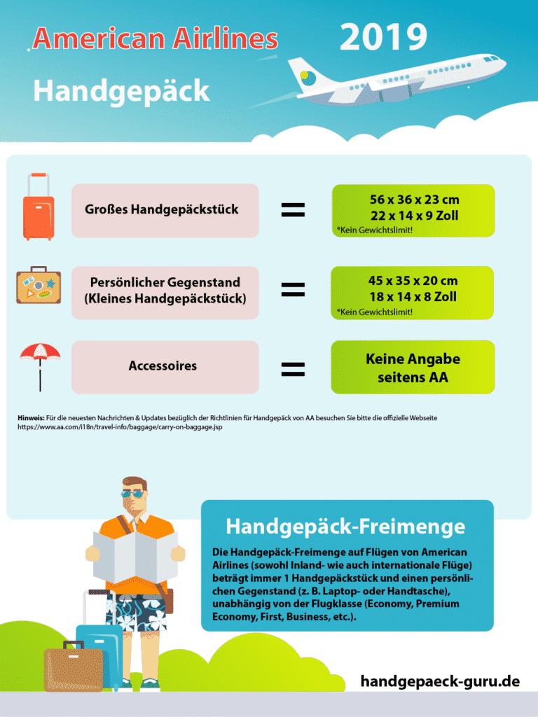 American Airlines Handgepäck-Freimenge Infografik