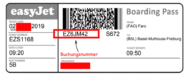 Buchungsnummer auf ausgedrucktem Flugticket easyJet