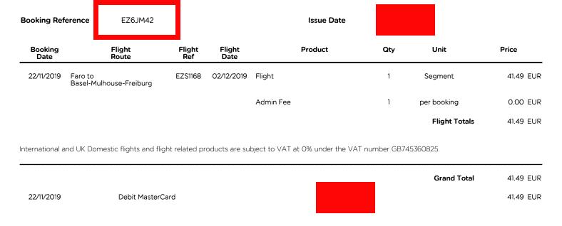 Buchungsnummer easyJet in der Zahlungsbestätigung PDF