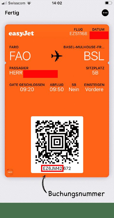 EasyJet Buchungsnummer auf der mobilen Bordkarte