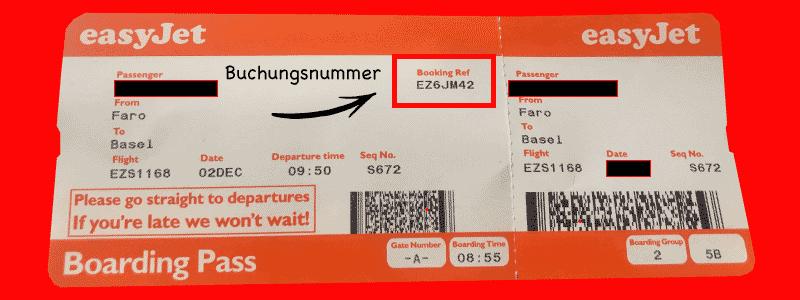 EasyJet Flugticket Buchungsnummer