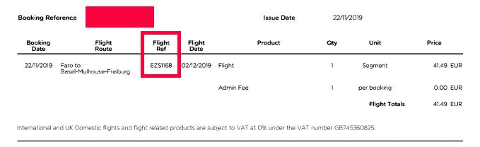 Flugnummer in der Zahlungsbestätigung bei easyJet