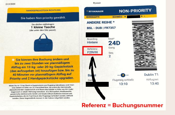 Ryanair Buchungsnummer Bordkarte (ausgedrucktes Flugticket)