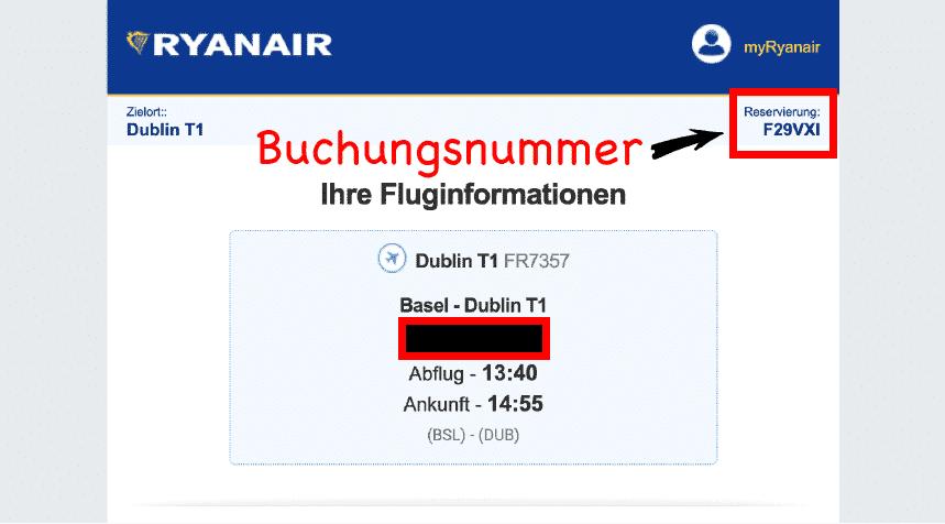 Ryanair Buchungsnummer Buchungsbestätigung