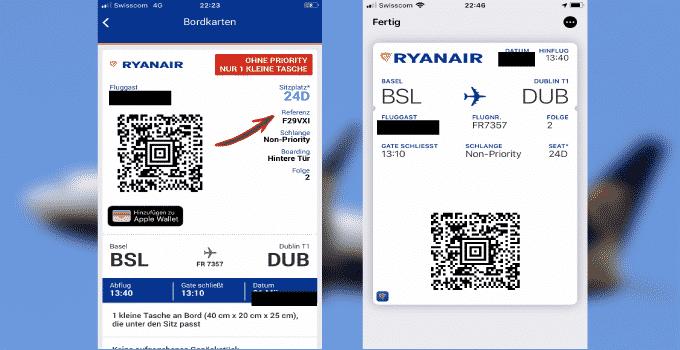 Ryanair Buchungsnummer auf der mobilen Bordkarte
