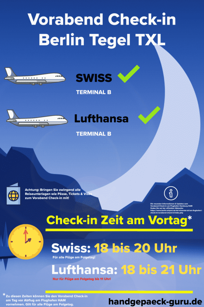 Vorabend Check-in Berlin Tegel Infografik
